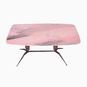 Mid-Century Brass & Marble Coffee Table by Cesare Lacca