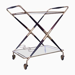 Mid-Century Brass, Wood & Glass Trolley by Cesare Lacca