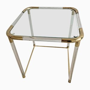 Mid-Century Italian Lucite and Brass Coffee Table, 1970s