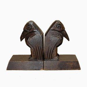 Vintage Wood Raven Bookends, Set of 2