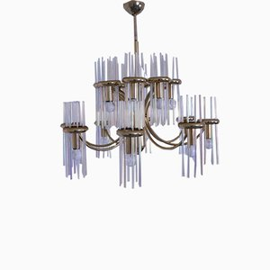 Mid-Century Fluorescent Glass Chandelier by Gaetano Sciolari