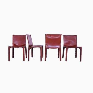 Vintage Leder Esszimmerstühle von Mario Bellini für Cassina, 4er Set