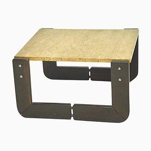 Tavolino in legno e travertino, Italia, anni '60