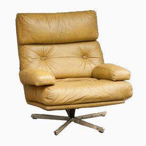 Sessel aus verchromtem Metall & Beigem Leder, 1960er