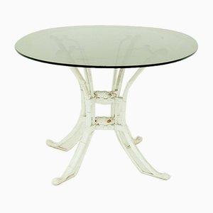 Mesa de comedor española de metal blanco y vidrio ahumado, años 80