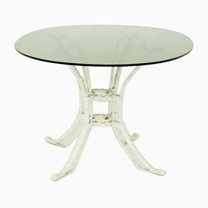 Spanish White Metal and Smoked Glass Dining Table, 1980s