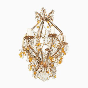 Small French Glass Beaded Gilded Metal Chandelier, 1950s