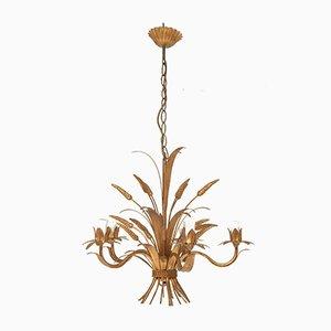 Lámpara de araña de metal dorado de Jan, años 60