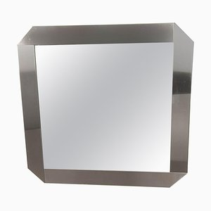 Brushed Steel Mirror by Gaetano Sciolari for Valenti Luce, 1970s