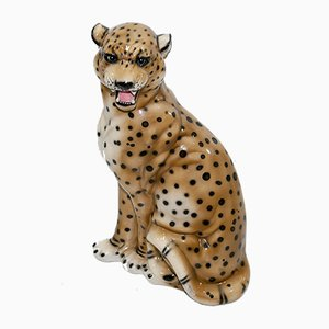 Escultura italiana grande de leopardo de cerámica, años 50