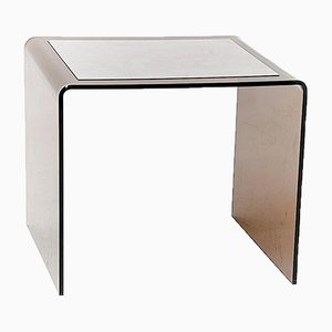 French Smoked Lucite and Aluminum Side Table, 1970s