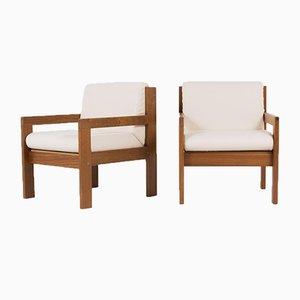 Armlehnstühle mit Armlehnen aus Mahagoni & Beigem Stoff von Andray Sornay, 1960er, 2er Set
