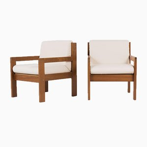 Mahogany and Beige Fabric Armchairs from Andray Sornay, 1960s, Set of 2