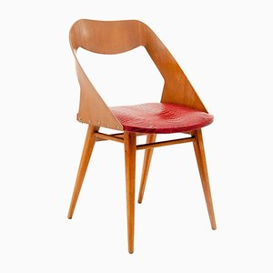 Italian Brown Wood and Red Vynil Chair by Paolozzi for Zol, 1960s