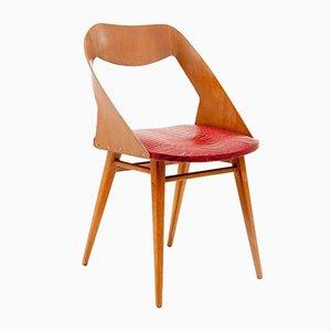 Italienischer Stuhl aus Braunem Holz und Rotem Vynil von Paolozzi für Zol, 1960er