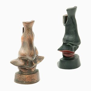Iron and Bronze Patina Mouth and Nose Sculptures, 1970s, Set of 2