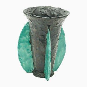 Französische Keramik Vase in Blau & Schwarz von Jérôme Massier für Vallauris, 1950er