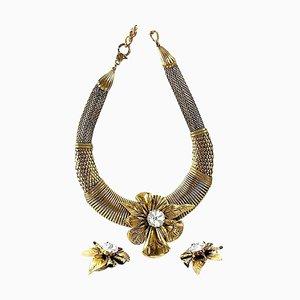 Vintage Halskette, Ohrring und Ständer