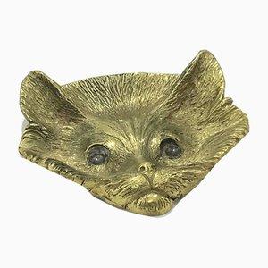 Cenicero Mid-Century en forma de gato de latón, años 50