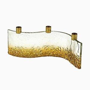 Candelabro italiano de vidrio, años 60
