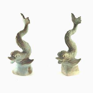 Fisch Skulptur aus Keramik, 1970er, 2er Set