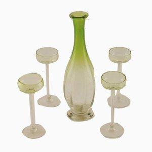Juego de jarra y cristal italiano de cristal de Murano de Venini, años 50