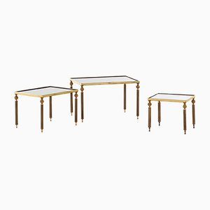 Brass and Glass Nesting Tables, 1960s