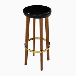 Swedish Teak, Brass, and Leather Bar Stool, 1950s