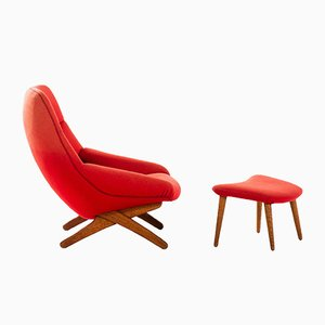 Model ML-91 Easy Chair and Footstool Set by Illum Wikkelsø for Michael Laursen, 1950s