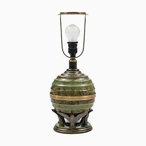 Schwedische Art Deco Bronze & Messing Tischlampe von SVM Handarbeete, 1930er