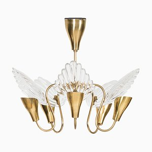 Brass & Glass Ceiling Lamp, 1960s