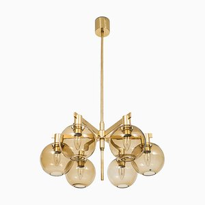 Brass & Glass Ceiling Lamp by Hans-Agne Jakobsson, 1950s