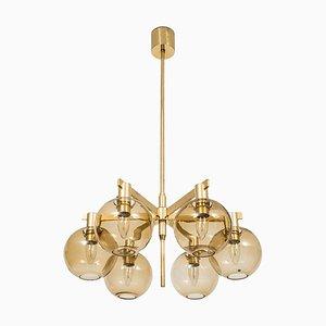 Deckenlampe aus Messing & Glas von Hans-Agne Jakobsson, 1950er
