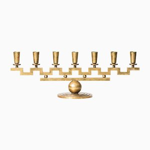 Swedish Brass Candleholder by Lars Holmström, 1940s
