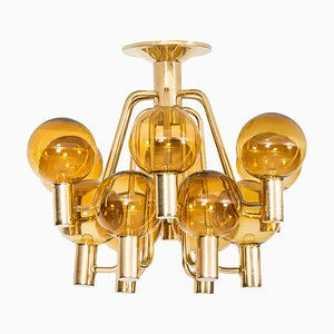 Brass & Glass Ceiling Lamp by Hans-Agne Jakobsson, 1960s