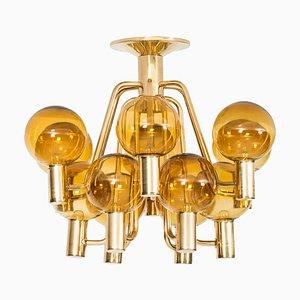 Deckenlampe aus Messing & Glas von Hans-Agne Jakobsson, 1960er
