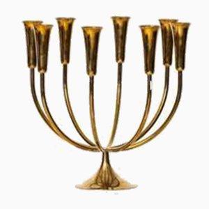Großer Messing Kerzenständer von Svend Aage Holm Sorensen für Illum Bolighus, 1950er