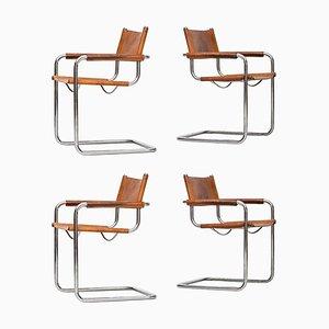 Italienische Palisander Armlehnstühle von Mart Stam für Fasem, 1960er, 4er Set