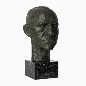 Sculpture du Général Harald Petri en Bronze Patiné, 1940s