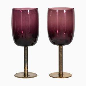Messing & Glas Kerzenhalter von Hans-Agne Jakobsson, 1960er, 2er Set