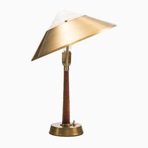 Lampe de Bureau Imitation Peau de Serpent et Laiton de AB E. Hansson & Co, 1960s