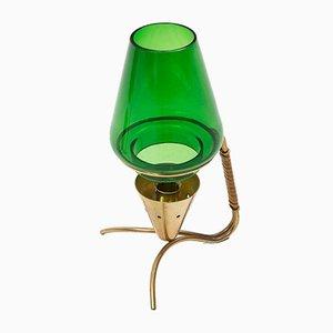 Schwedische Messing & Glas Kerzenhalter von Gunnar Ander für Ystad Metall, 1950er, 2er Set