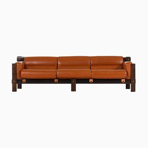 Brasilianisches Sofa aus Palisander & Leder von Percival Lafer für Lafer MP, 1970er