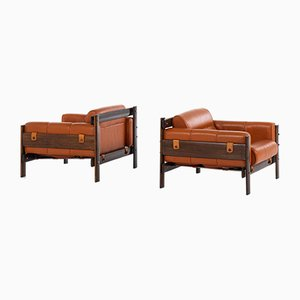 Brazilian Rosewood & Leather Lounge Chairs by Percival Lafer for Lafer MP, 1970s, Set of 2