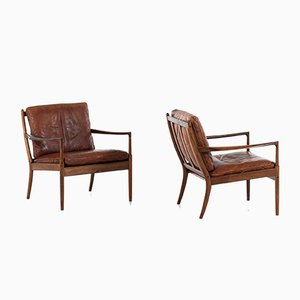 Swedish Model Samsö Lounge Chairs by Ib Kofod-Larsen for OPE, 1950s, Set of 2
