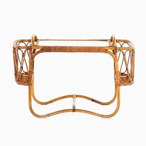 Dänischer Tabletttisch aus Rattan & Schilfrohr von EVA Nissen & Co, 1950er