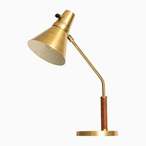 Swedish Brass & Snakeskin Table Lamp from AB E. Hansson & Co, 1960s