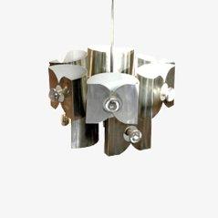 Lampe à Suspension Ere Spatiale en Aluminium, 1969