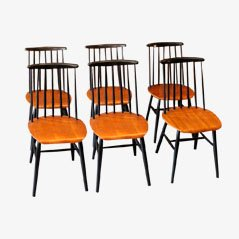 Vintage Wooden Chairs Ilmari Tapiovaara, 1955, Set of 6