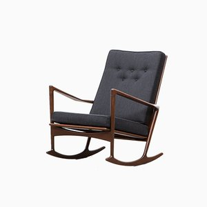 Rosewood and Walnut Rocking Chair by Ib Kofod Larsen for Christian Linneberg, 1960s